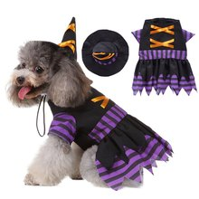 Halloween Pet Dresses Dogs Cosplay Costume Funny Striped Wizard Outfits Set puppy Clothes 2-legged Coat And Hat For Dogs(China)