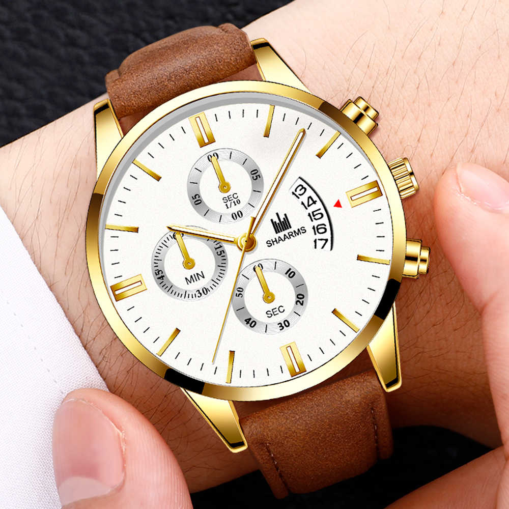 Men Leather Watch New Fashion Stainless Steel Case Calendar Quartz Wrist Watches Business Casual Watch Man Clock relojes hombre
