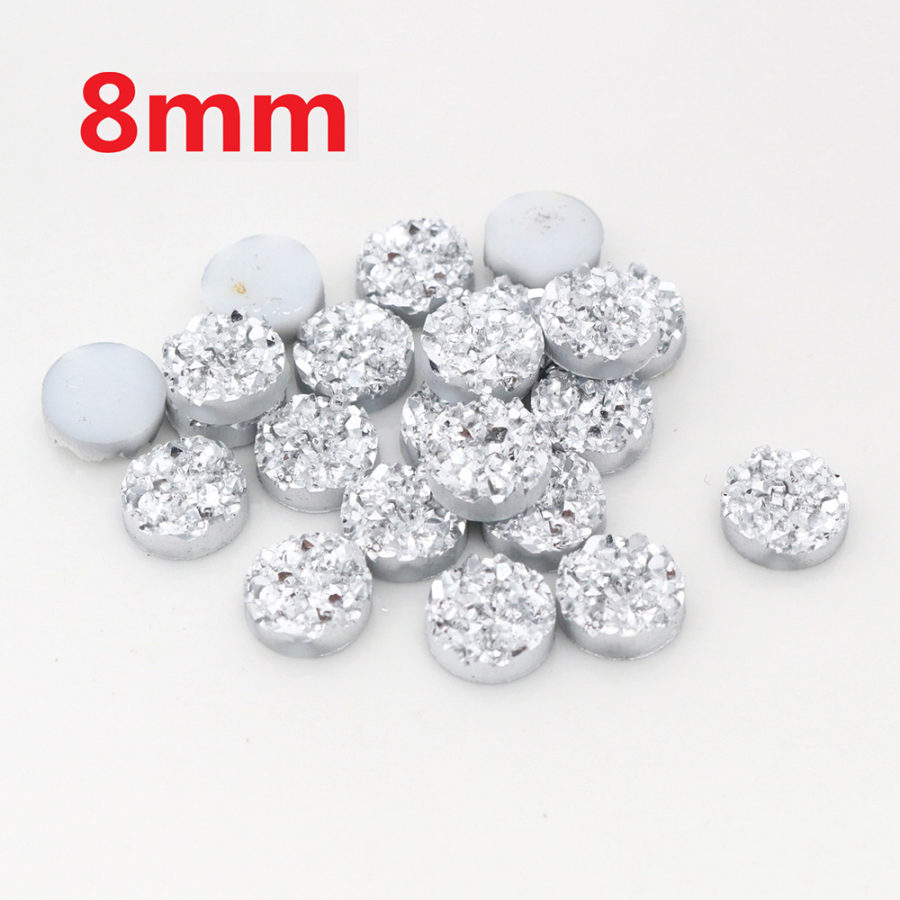 New Fashion 40pcs 8mm Silver Plated Colors Natural Ore Style Flat Back Resin Cabochons For Bracelet Earrings Accessories-V3-25
