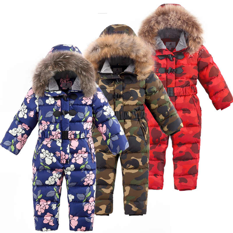 -30 degrees winter children's camouflage down jackets Boys thick ski suit Girls' conjoined down jackets kids warm snowsuit 3T-7T