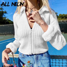 ALLNeon E-girl Vintage Zip Up Fake Fur Callar Knitted Cardigans Y2K Fashion Solid Slim Long Sleeve Cropped Tops Sweet Jackets
