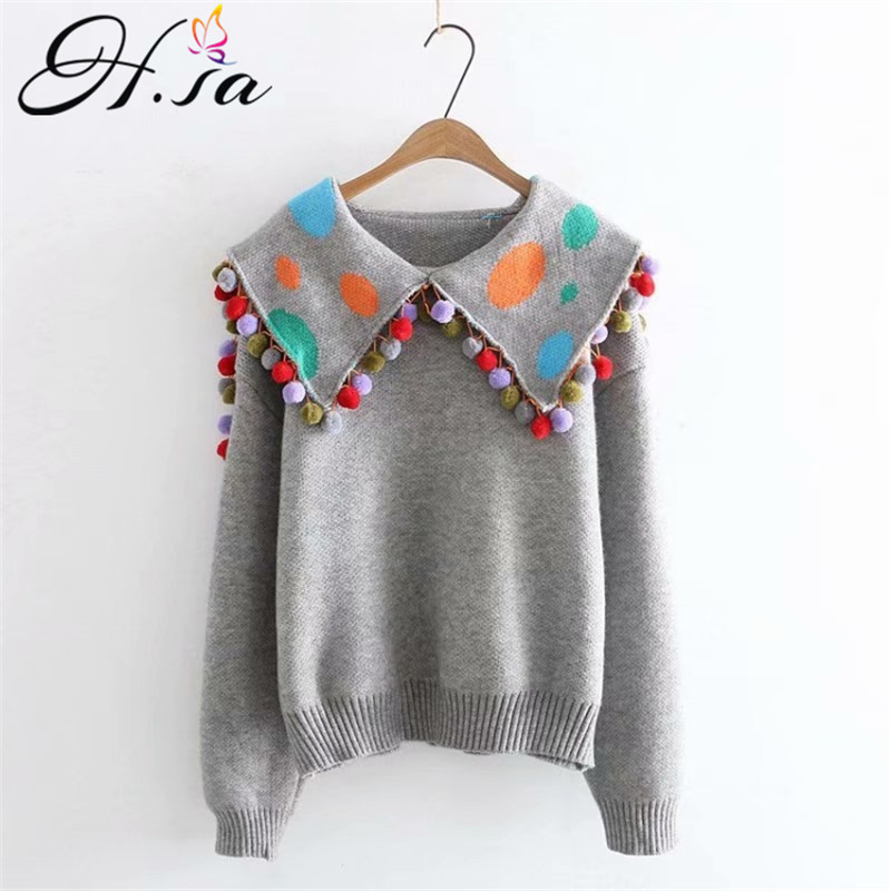 H.SA Women Cute Sweater And Pullovers Turn Down Collar Ball Tassel Knit Jumpersa Grey Chic Navy Style  Jumpers Winter Pull