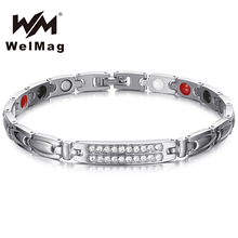 WelMag Germanium Magnetic Healing Bracelets & Bangles Stainless Steel Crystal Bracelets for Women Health Care Jewelry stainless steel hologram bracelet germanium balance energy care magnetic power health bracelets bangles