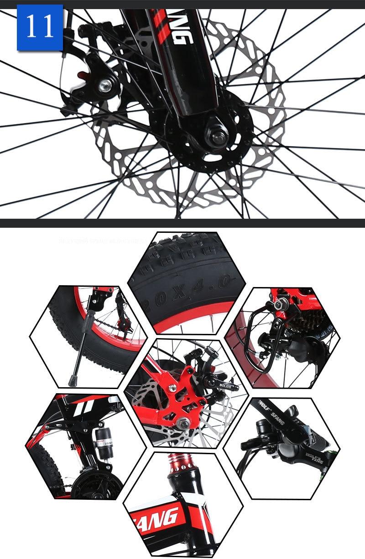 """H1182007c5edc4c5c8eff1f6635d24decW wolf's fang Mountain Bike 20""""x 4.0 Folding Bicycle 21 speed road bike fat bike variable speed bike Mechanical Disc Brake"""