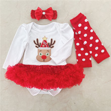 Cotton Christmas Newborn Toddler Kids Baby Girls Infant Dress Romper Jumpsuit Bodysuit Outfits Novelty Reindeer Xmas Party Gifts цена и фото