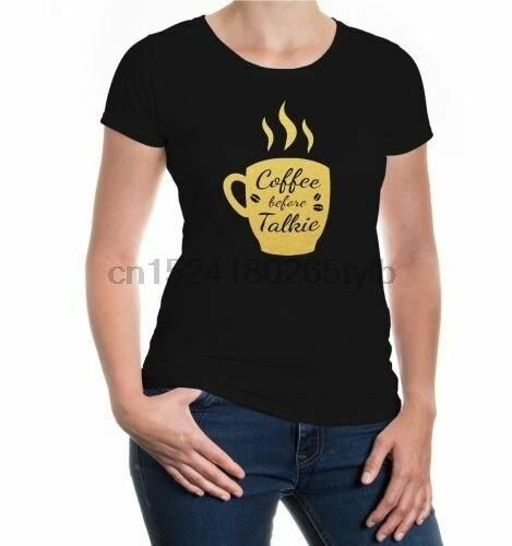 Женская футболка с коротким рукавом для девочек кофейная надписью coffee before Talkie