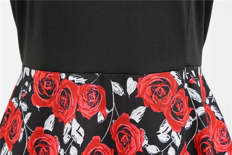 Women Long Sleeve Winter Vintage Dresses Sexy Black Music Note Print V-neck Rockabilly Pin up Party Dress Vestidos Plus size 670
