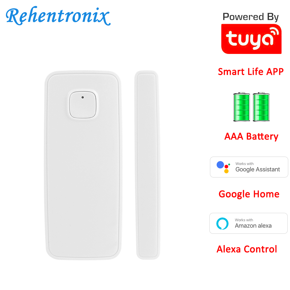 AAA Battery Powered Alexa Google Home Tuya Smart WiFi Door Window Contact Sensor Smart Life APP Alarm Sensor Notifications