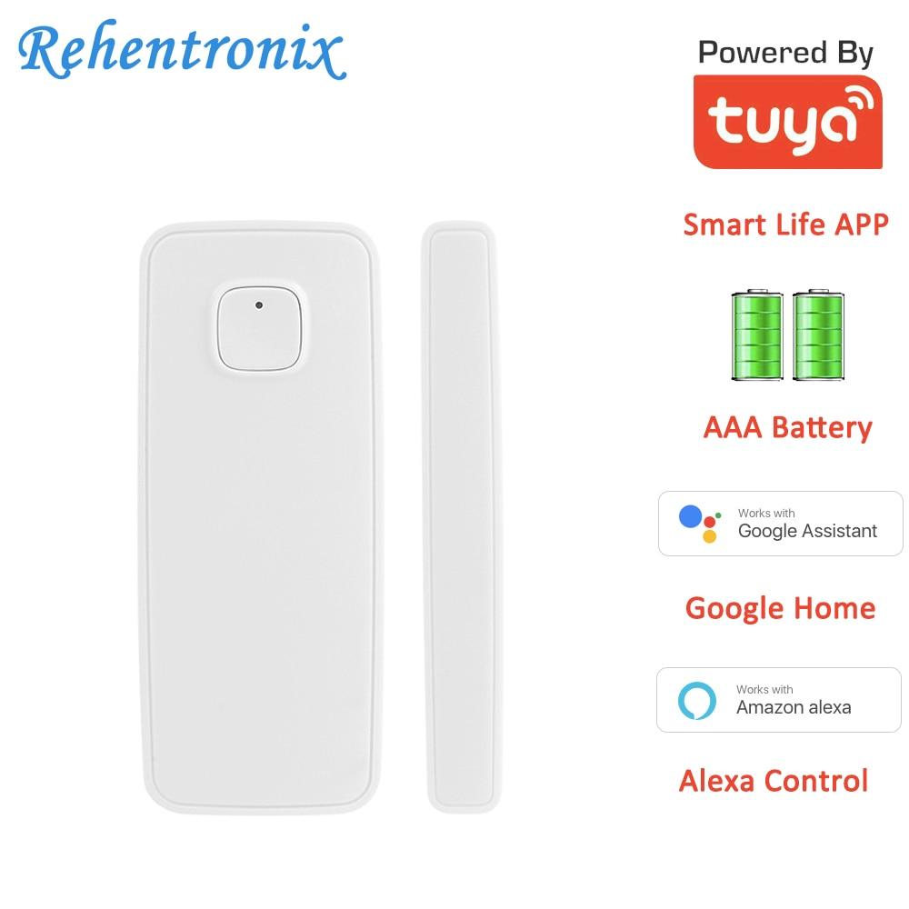 AAA Battery Powered Alexa Google Home Tuya Smart WiFi Door Window Contact Sensor Smart Life APP Alarm Sensor Notifications