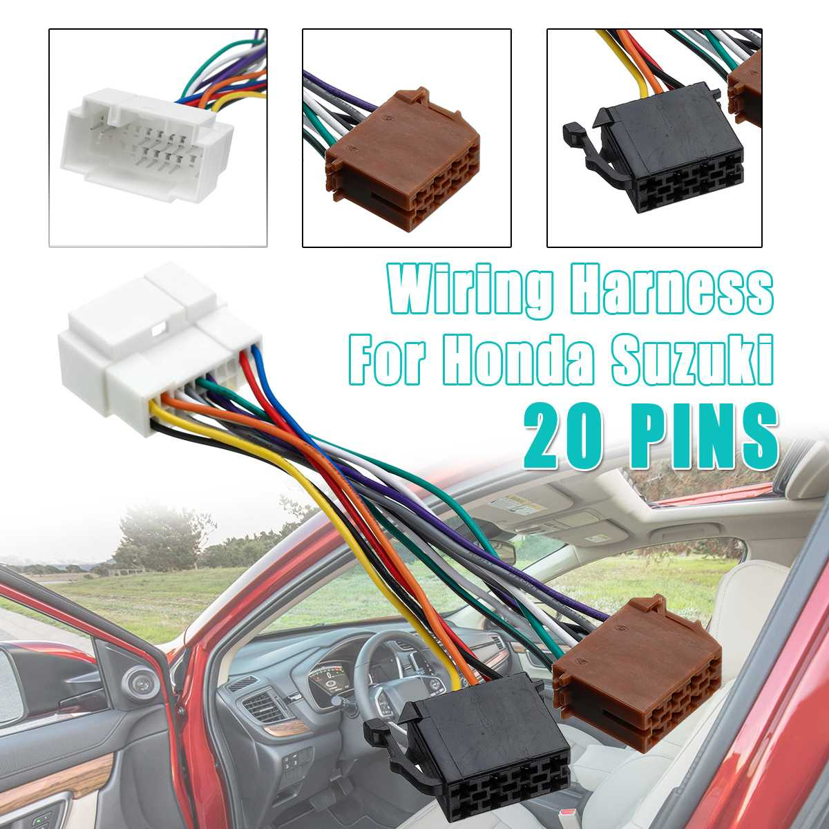 20PIN Car ISO Radio Stereo Wire Cable Harness Adapter Wiring Connector Plug For Honda  For Suzuki For Accord For Civic For CRV