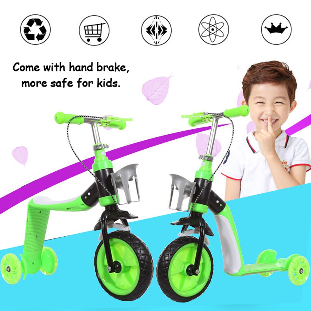 2 In 1 Kids Child Scooter Balance Car Children's Balance Bike Baby Multifunctional Tricycle 3 Wheels Stand Seat Folding Skating