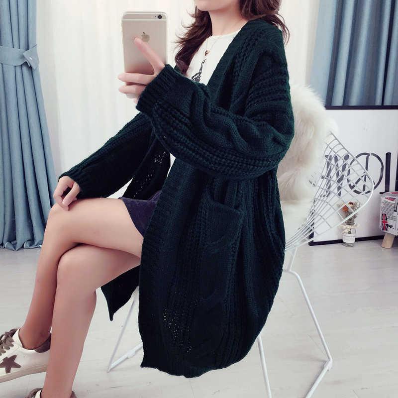 여자의 스웨터에 대 한 겨울 가을 카디 건 우아한 빈티지 니트 느슨한 두꺼운 긴 스웨터 코트 02235223L
