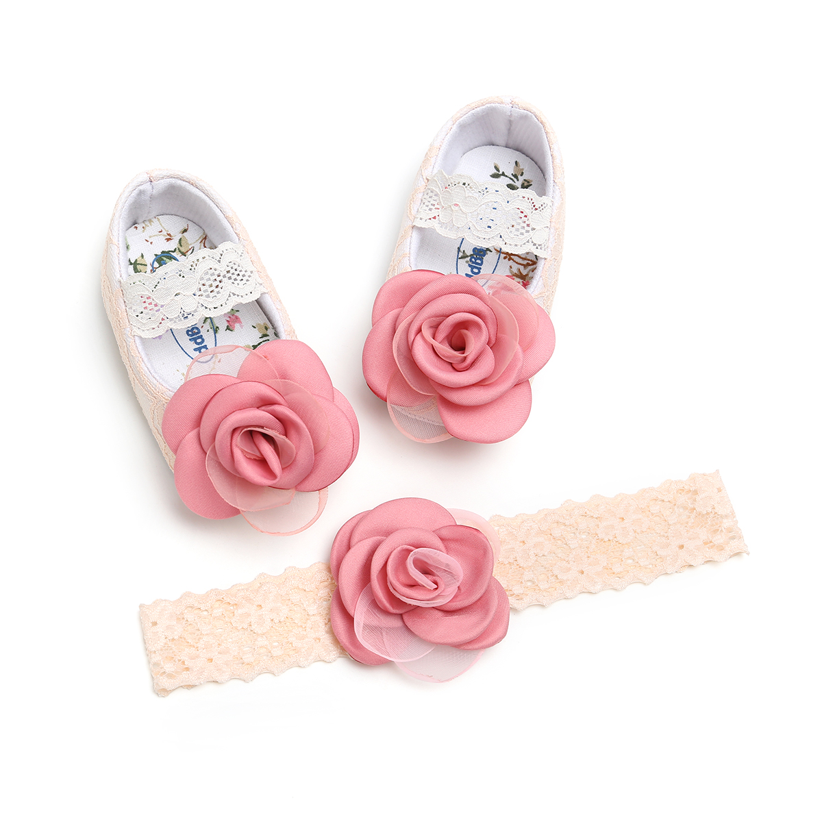 Cute Newborn Infant Baby Girls Flower Shoes Lace Floral Princess Crib Shoes Birthday Gift