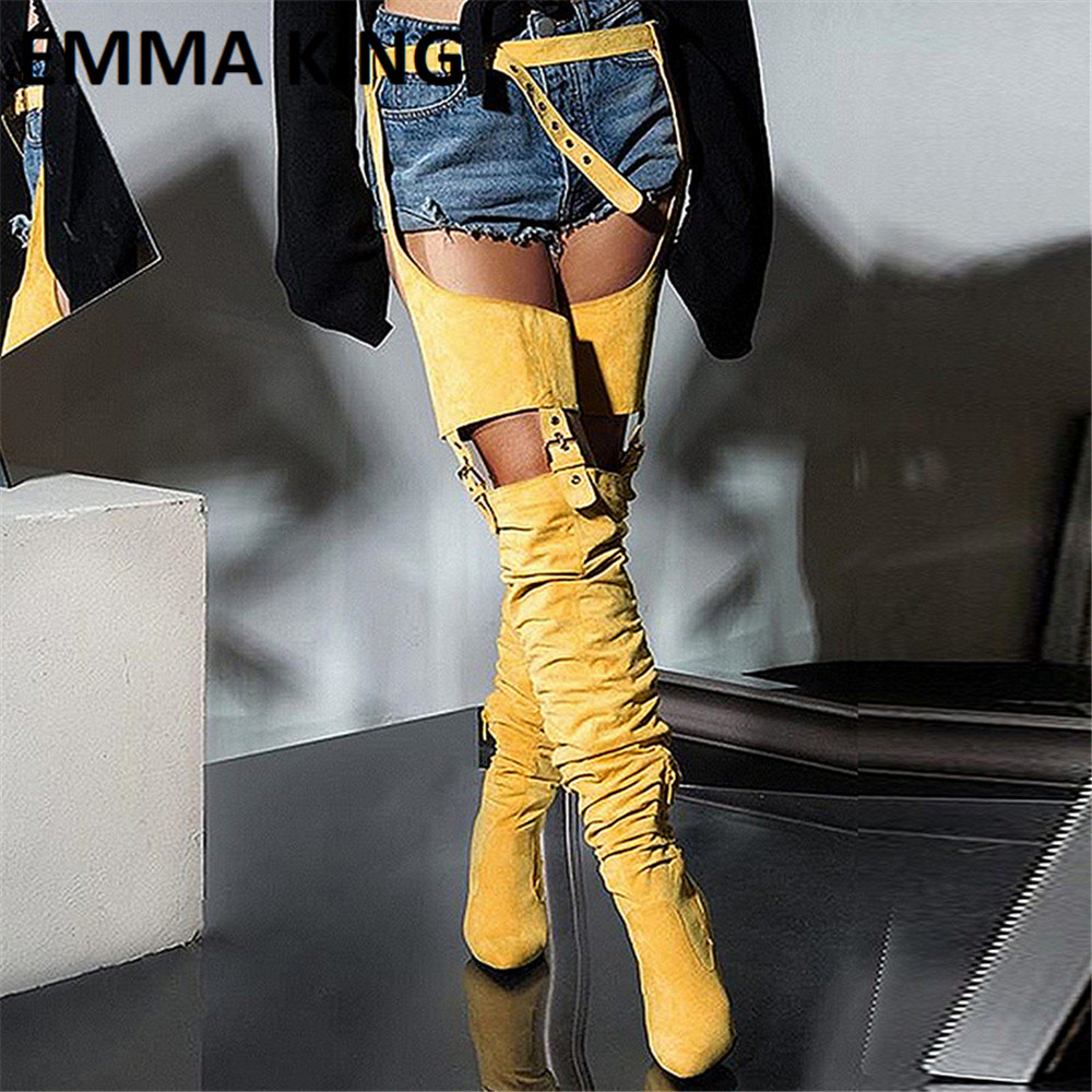 Women Over The Knee Leg Buckle Waist Belt Long Boot Wild <font><b>Sexy</b></font> Belted Thigh High Boots Fashion Ladies Shoes <font><b>Chap</b></font> Boots Woman 2019 image