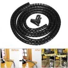 For PC TV 1m 10mm Cable Banding Organizer Spiral Wrap Tidy Cord Wire Organizer Line Cable Clip Ties Fixer Fastener Holder