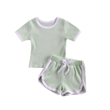 0-3 Years Toddler Newborn Baby Boy Girl Summer 2-piece Outfit Set Short Sleeve Solid Color Tops+Shorts Set