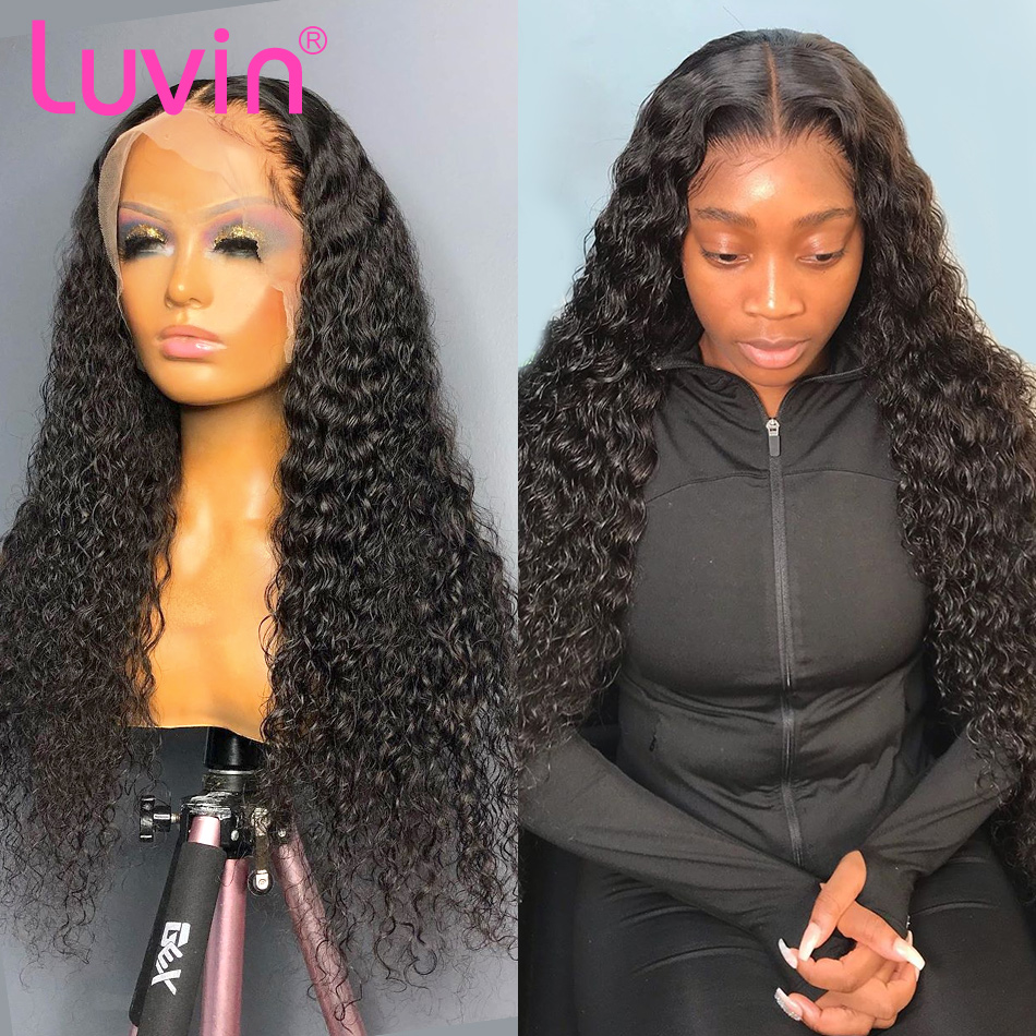 Luvin 150 Density Curly Deep Wave 2x6 13x4 Front Wig Lace Frontal Wigs L Deep Part Brazilian Human Hair Pre Plucked Baby Hair