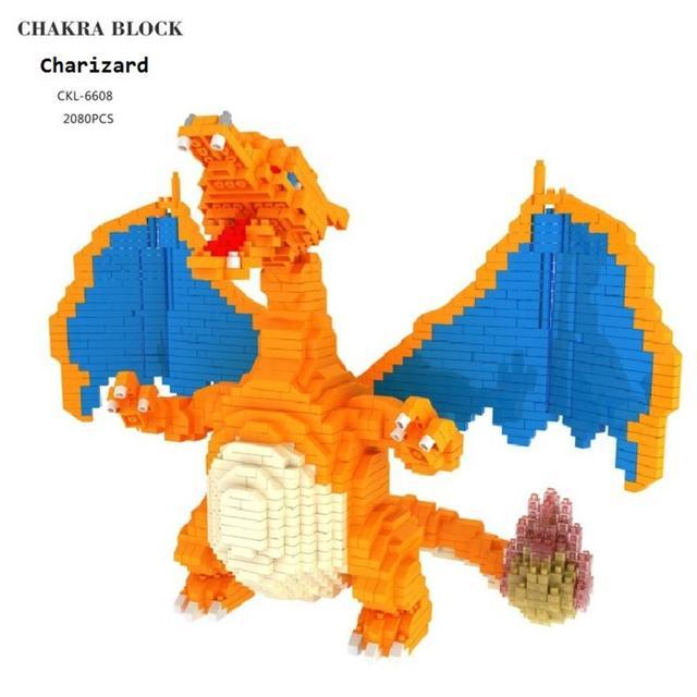 Большой размер, Мультяшные мини блоки Charizard DIY, строительные блоки, бластвуза, детский аниме, модель для аукциона, игрушки для детей, подарки