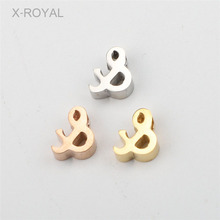 X-ROYAL 10Pcs/lot 7*8mm 8*10mm  & Note Shape Loose Beads Stainless Steel 1.8mm Small Hole Polishing DIY Findings Jewelry