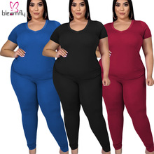 Suit Short-Sleeve Women And 4XL Plus for Tops Two-Piece-Set Long-Pant O-Neck Female Big-Size