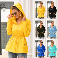 Women Waterproof Raincoat Hooded Coat Solid Color Pockets for Outdoor Climbing Fashion Casual Loose Coat Autumn K2