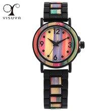 Bracelet Watches Wooden Bangle Arabic Quartz Stainless-Steel Women's Buckle Numerals-Display