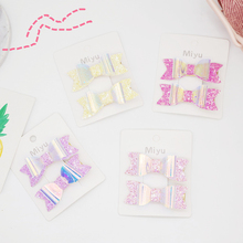 2Pcs/set Glitter Hair Clips For Girls Swallowtail Pins Kids Lovely BB Baby Hairpin Bowknot Barrettes Accessories New