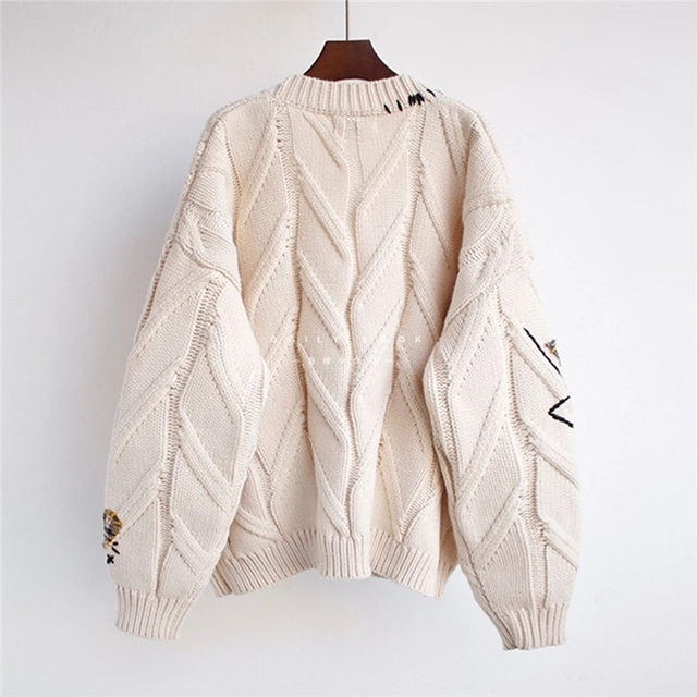 2020 Autumn Winter Women Cardigan Warm Knitted Sweater Jacket Pocket Embroidery Fashion Knit Cardigans Coat Lady Loose Sweaters 2