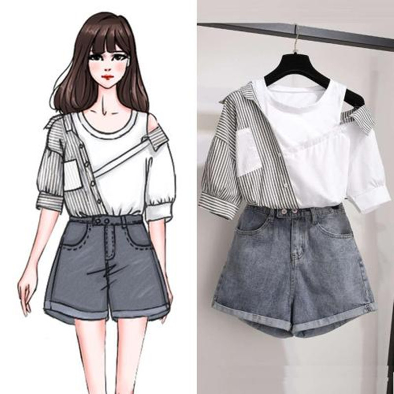 2020 Summer Korean Two Pieces Set Women Striped Patchwork Off Shoulder Tops Blouse And Blue Denim Shorts Sets Women Clothes