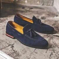 Frühling Vintage Italienische Männer Schuhe Aus Echtem Leder Formale Kleid Faulenzer Quaste Casual Business Arbeit Fahren Schuhe Hochzeit Wohnungen