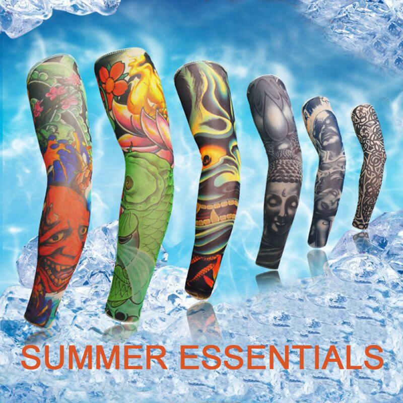 Men Seamless Flower Arm Tattoo Cuff Outdoor Sun Protection Riding Sleeve Summer Cool Sun-resistant Cuff