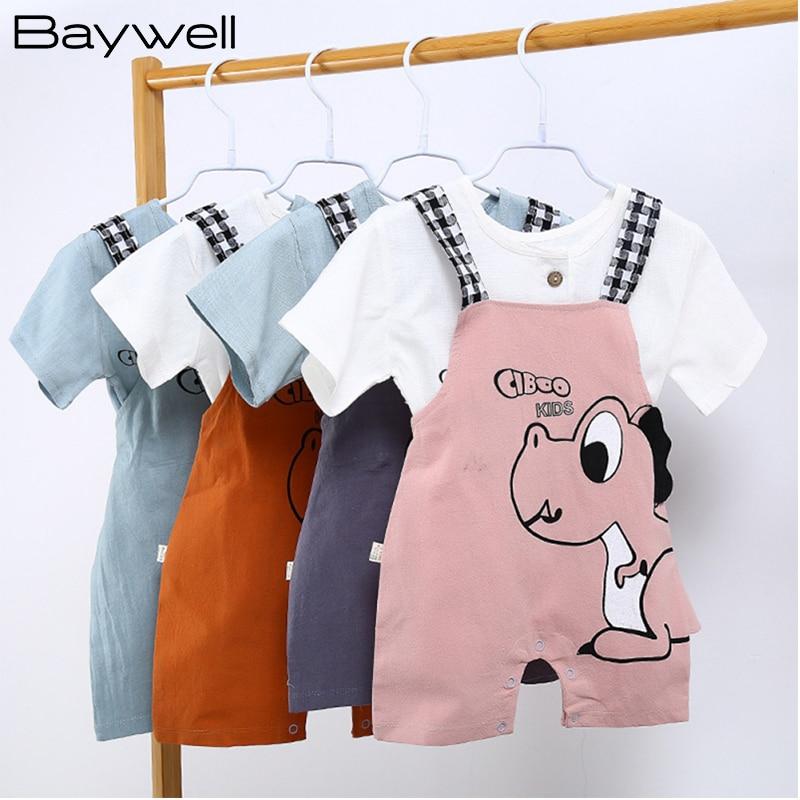 Baywell Dinosaur Printing Jumpsuit for Kids Baby Boys Children's Overalls Strap Shorts Set Summer Infant Boy Suspender Romper