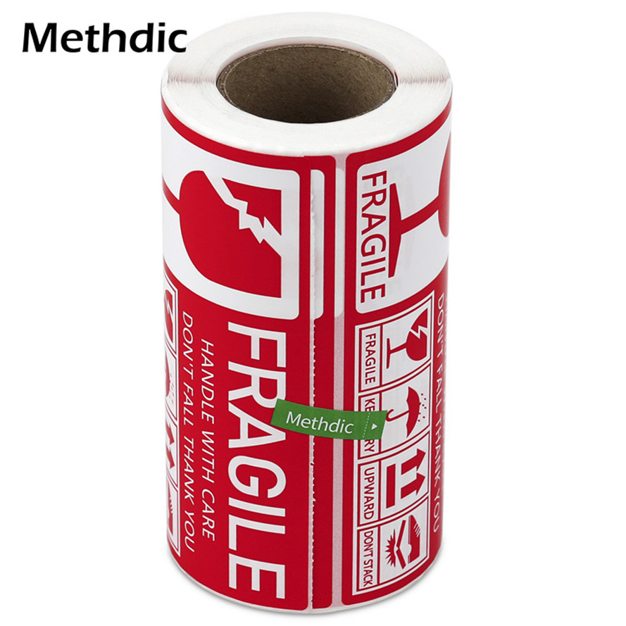 Methdic 130x70 Packaging Fragile Label Stickers 1Roll