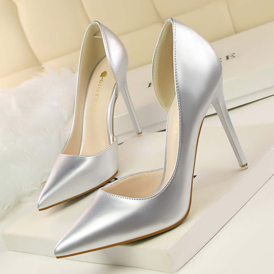 STONE VILLAGE Autumn Women Shoes Patent Leather Pointed Toe Pumps Wedding Dress Shoes Women 10.5 CM Thin High Heels Boat Shoes