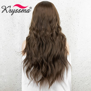 Image 3 - Kryssma Brown Wigs For Women Long Wavy Synthetic Wigs Womens Cosplay Wigs Heat Resistant Fiber Hair Wig Full Machine Made Wig
