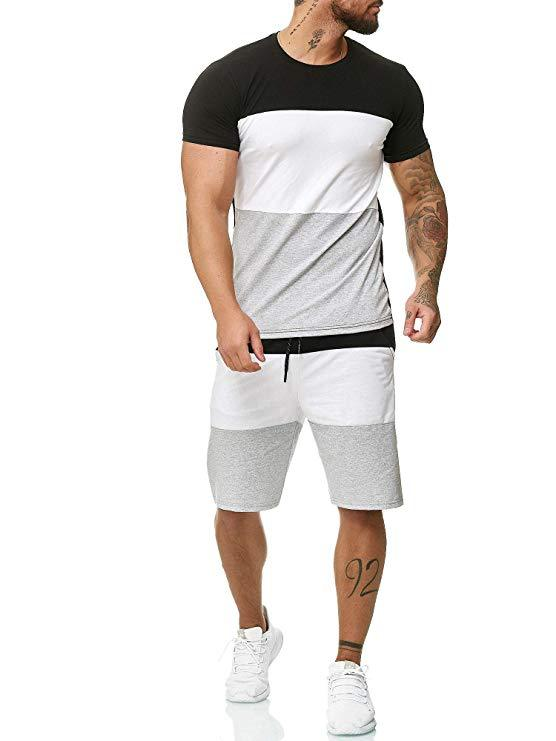2019 MEN'S Short Sleeve Shirt Set Outdoor Sports Casual Contrast Color-Men's K113
