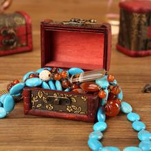Jewelry Storage Box Case Vintage Organizer Wood Handmade Mini Metal Lock for Storing Treasure Pearl Retro Wooden Boxs