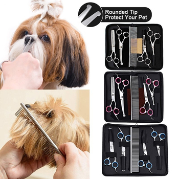 5-Piece Stainless Steel Pet Dog Grooming Scissors Set Japan 440C Flat Curved Sharp kitten dog hair combing tool