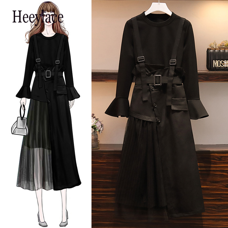 5XL Plus Size Good Quality Two Piece Set 2019 Autumn Women Fashion Loose Flare Sleeve Shirt And Asymmetry Shoulder Strap Dress