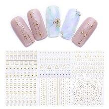 Cintas adhesivas para calcomanía 3D para uñas, 1 hoja de oro y plata, tiras de varios tamaños, adhesivos de transferencia de manicura, diseño de uñas