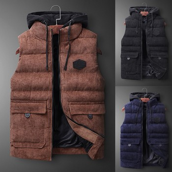 Coat 2019 New Fashion Men  Autumn Winter Hooded Warm Hooded Solid Outwear Vest Jacket Tops Blouse