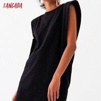 Tangada 2021 Women Elegant Shoulder Pads Knee Cotton Dress Summer Oversized Sleeveless Ladies Solid Dress 6L53 1