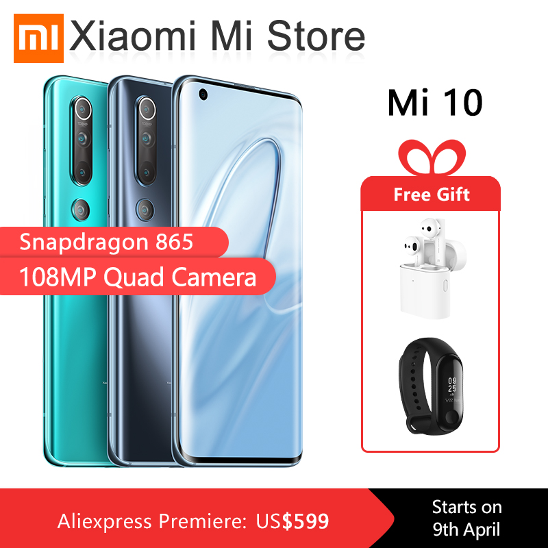 "Global Version Xiaomi Mi 10 8GB 128GB Mobile Phone 5G Smartphone 108MP Snapdragon 865 Octa Core 6.67"" AMOLED Display WIFI 6 1"