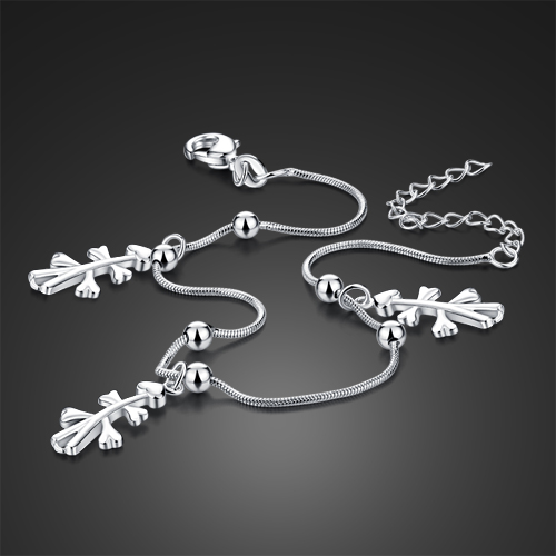 26 cm women silver Anklets.Fashion solid 925 sterling silver snake chain anklets.Sterling silver jewelry charm women