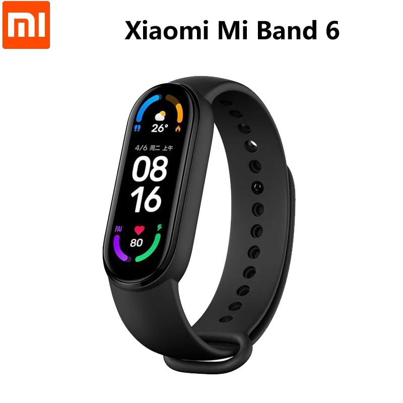Смарт-браслет Xiaomi Mi Band 6, водонепроницаемый фитнес-трекер с измерением пульса и уровня кислорода в крови, Bluetooth, 2021