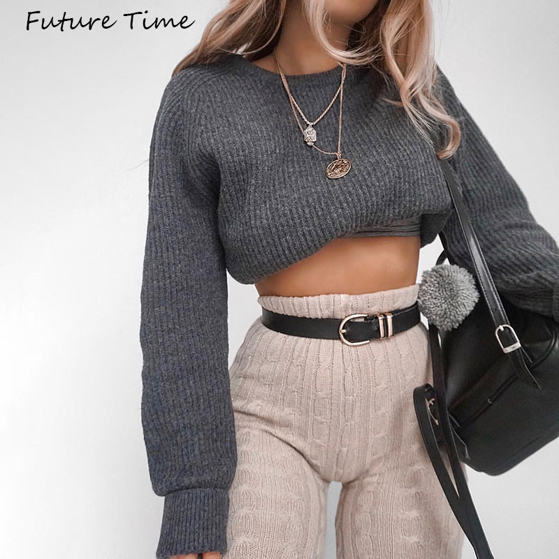 Women's Sweater Crop Top Long Sleeve Women Sweater Pullover Clothing Femme Solid Color Autumn And Winter 2019 C1986