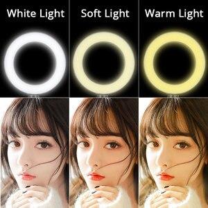 Image 3 - 26cm/16cm LED anneau lumière Dimmable éclairage photographique caméra téléphone Studio Selfie anneau lampe Table trépieds pour maquillage vidéo en direct