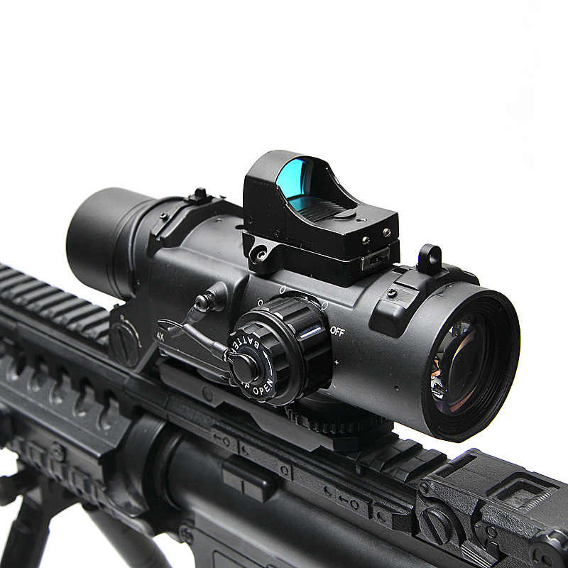 Tactical Riflescope 1-4x Rifle Scope DR Quick Afneembare 1X-4X Verstelbare Dual Rol Sight Airsoft Scope Magnificate Voor Jacht
