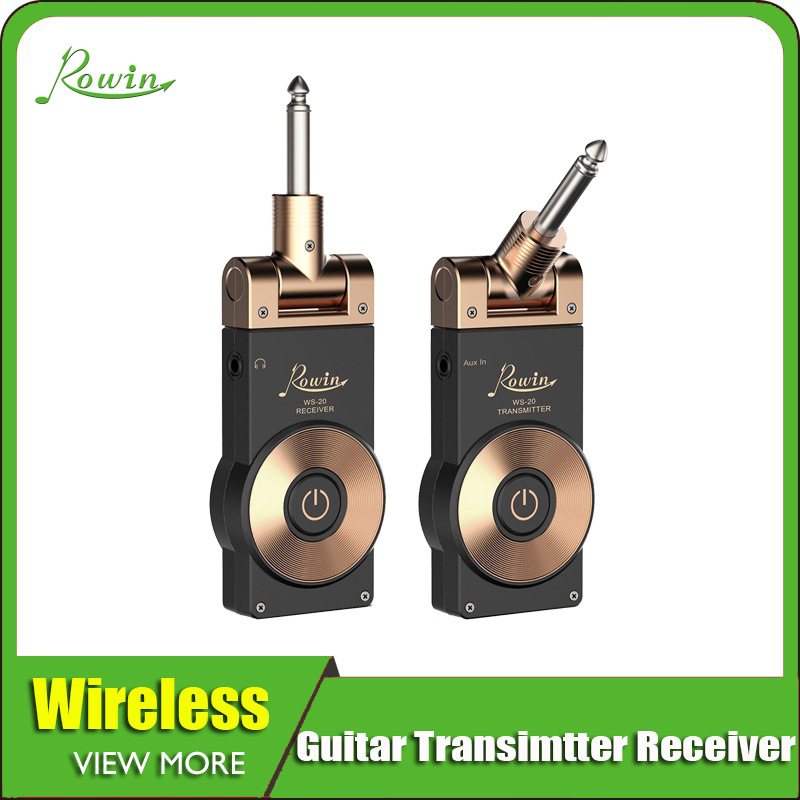 Rowin 2.4G Guitar Wireless System Transmitter Receiver For Electric Guitar Bass Golden Color