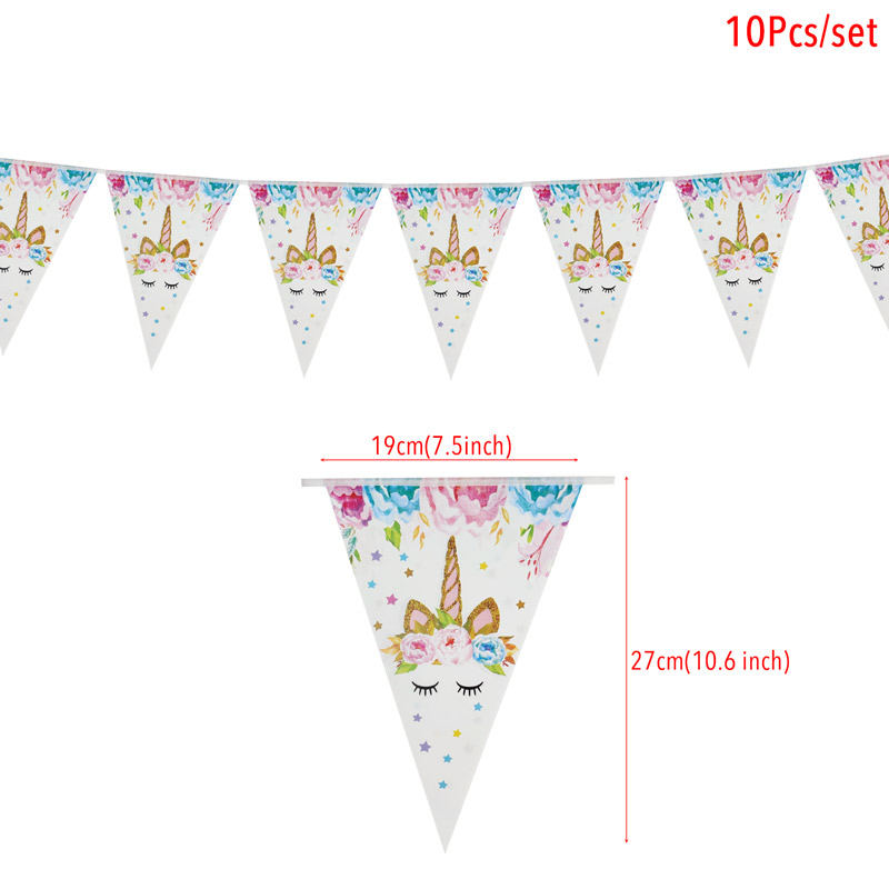 Image 3 - 1set Rainbow Unicorn Banners Unicorn Party Hanging Flags Kids Birthday Party Decorations Bunting Garland Baby Shower Supplies-in Banners, Streamers & Confetti from Home & Garden